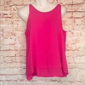 Adrianna Papell Rose Pink Tiered Zipper Tank TopXS